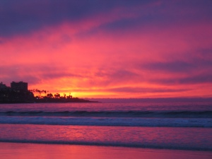 blazing sunset La Jolla Shores